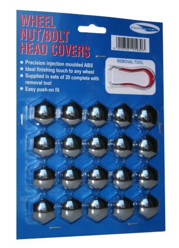 Car Wheel Nut Bolt Covers Caps Chrome 19mm Full Set of 20 With Removal Tool